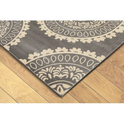 Madalena Circle Medallion Gray/Beige Area Rug Rug Size: 710 x 910