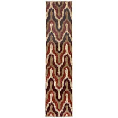 Bunker Modern Ikat Synthetic Beige/Brown Indoor Area Rug Rug Size: Runner 18 x 73