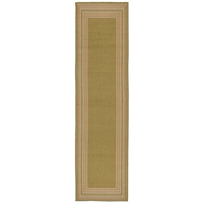 Lambert Etched Border Green Indoor/Outdoor Area Rug Rug Size: Runner 111 x 76