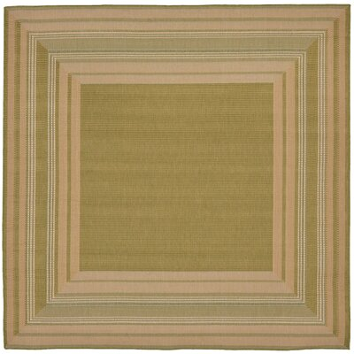 Lambert Etched Border Green Indoor/Outdoor Area Rug Rug Size: Square 710