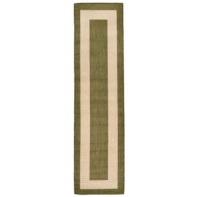 Aaliyah Border Power Loom Green Indoor/Outdoor Area Rug Rug Size: Runner 111 x 76