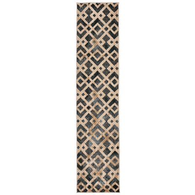 Lamphere Black/Brown Area Rug Rug Size: Runner 18 x 73