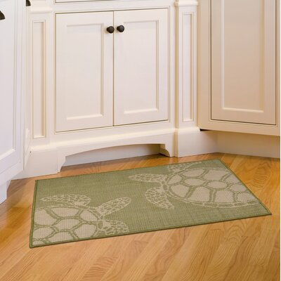 Lambert Seaturtle Green Indoor/Outdoor Area Rug Rug Size: Rectangle 410 x 76