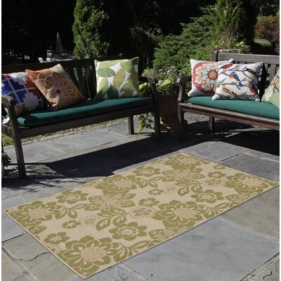 Coleg Garden Power Loom Green/Beige Indoor/Outdoor Area Rug Rug Size: Round 710