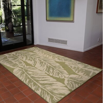 Lambert Banana Leaf Power Loom Green Indoor/Outdoor Area Rug Rug Size: Runner 111 x 76