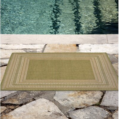 Lambert Etched Border Green Indoor/Outdoor Area Rug Rug Size: Rectangle 33 x 411