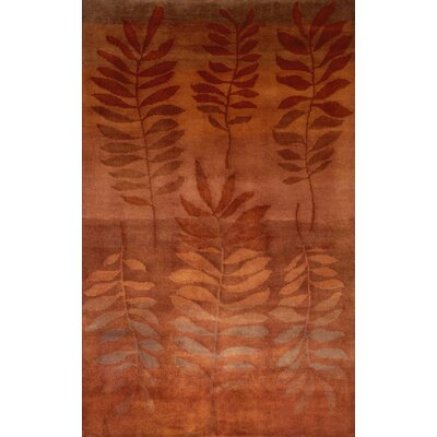 Karela Fern Saffron Hand Knotted Wool Orange Area Rug Rug Size: Rectangle 410 x 710
