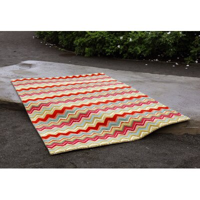 Seville Zigzag Stripe Hand Tufted Wool Red/Green/Pink Area Rug Rug Size: Rectangle 8 x 10