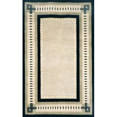 Palermo Modern Border Hand Knotted Wool Ivory Area Rug Rug Size: Rectangle 5 x 8