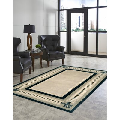 Palermo Modern Border Hand Knotted Wool Ivory Area Rug Rug Size: Rectangle 9 x 12