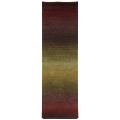 Karela Hand Knotted Wool Burgundy Ombre Area Rug Rug Size: Runner 23 x 8