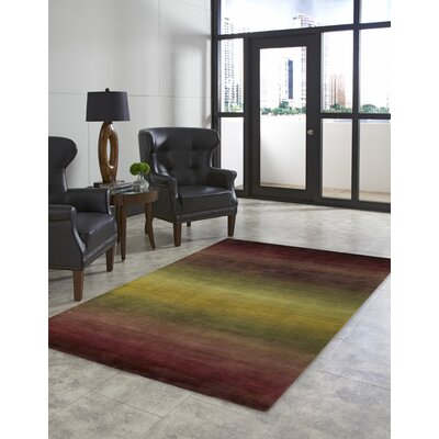 Karela Hand Knotted Wool Burgundy Ombre Area Rug Rug Size: Rectangle 36 x 56