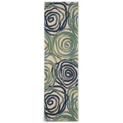 Tivoli Rambling Rose Playa Blue Area Rug Rug Size: Runner 23 x 8