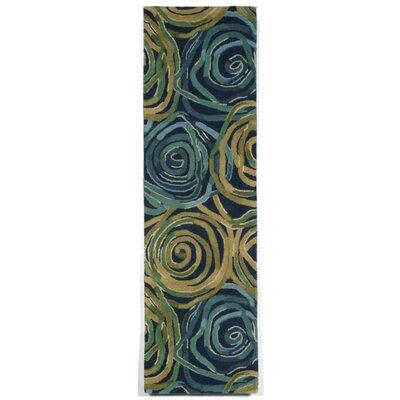 Tivoli Rambling Rose Navy/Yellow Indoor/Outdoor Area Rug Rug Size: Runner 23 x 8