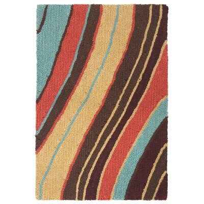 Lalunita Wave Hand-Tufted Red/Blue Area Rug Rug Size: Rectangle 36 x 56