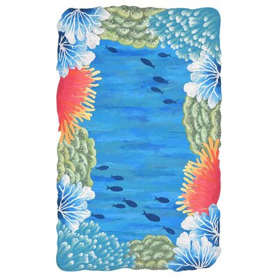 Visions IV Reef Border Handmade Blue Indoor/Outdoor Area Rug Rug Size: Rectangle 36 x 56
