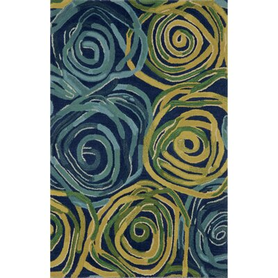 Tivoli Rambling Rose Navy/Yellow Indoor/Outdoor Area Rug Rug Size: 36 x 56