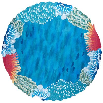Visions IV Reef Border Handmade Blue Indoor/Outdoor Area Rug Rug Size: Round 8