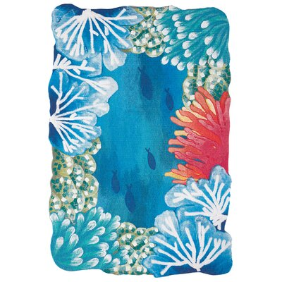 Visions IV Reef Border Handmade Blue Indoor/Outdoor Area Rug Rug Size: Rectangle 2 x 3