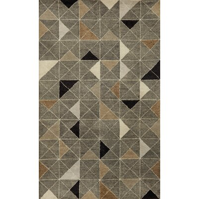 Fantasy Triangles Hand Tufted Wool Gray Area Rug Rug Size: Rectangle 9 x 12