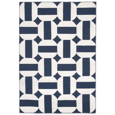 Assisi Circles Hand Woven Navy Indoor/Outdoor Area Rug Rug Size: Rectangle 36 x 56