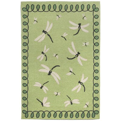Napa Dragonfly Hand Tufted Green Indoor/Outdoor Area Rug Rug Size: Rectangle 83 x 116