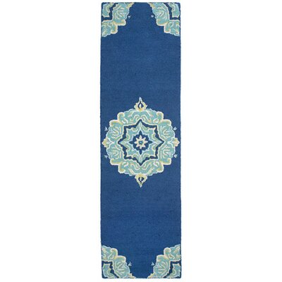 Lalunita Medallion Hand-Tufted Navy Indoor/Outdoor Area Rug Rug Size: Runner 23 x 8