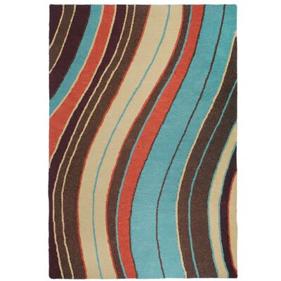 Lalunita Wave Hand-Tufted Red/Blue Area Rug Rug Size: Rectangle 2 x 3