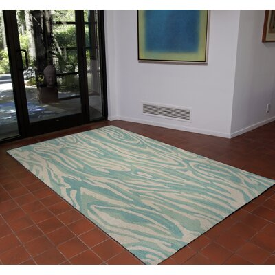 Lalunita Marble Hand-Tufted Blue Area Rug Rug Size: Rectangle 5 x 75