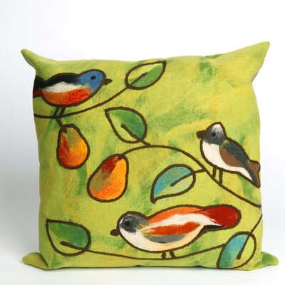 Nunnally Song Birds Indoor/Outdoor Throw Pillow Size: 20 x 20, Color: Green