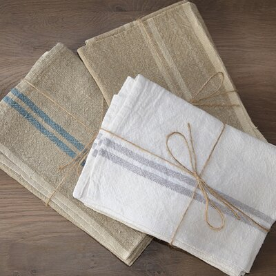 Vintage Linen Towel Color: Ivory/Gray