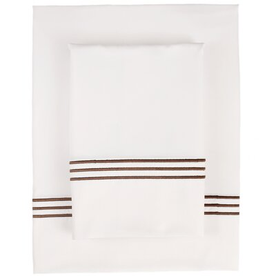Pipe Stitch 300 Thread Count Fabric Sheet Set Size: Queen, Color: Chocolate
