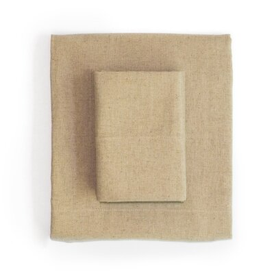 Linen & Cotton Sheet Set Size: Full, Color: Khaki