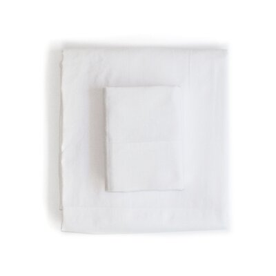 Linen & Cotton Sheet Set Color: White, Size: Queen