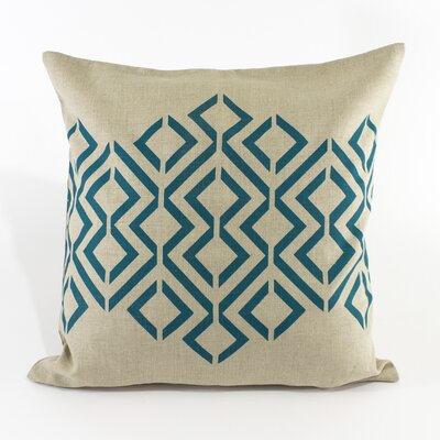Geo Diamond Pillow Cover Color: Light Natural / Teal