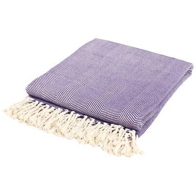 Nine Space Herringbone Cotton Throw Blanket Color: Purple / Cream