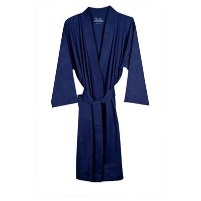 Natural Living Organic Cotton Jersey Bathrobe Color: Navy