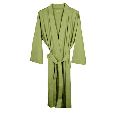Natural Living Organic Cotton Jersey Bathrobe Color: Sage