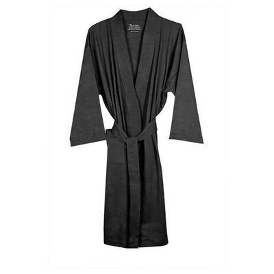 Natural Living Organic Cotton Jersey Bathrobe Color: Grey