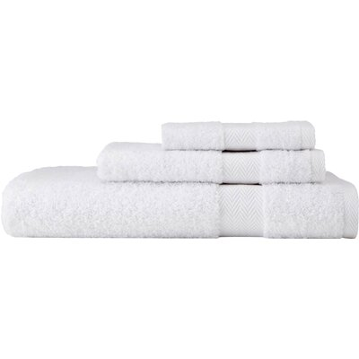 Chevron 3 Piece Towel Set Color: White