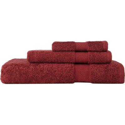 Chevron 3 Piece Towel Set Color: Maroon