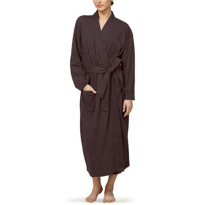 Natural Living Organic Cotton Jersey Bathrobe Color: Chocolate