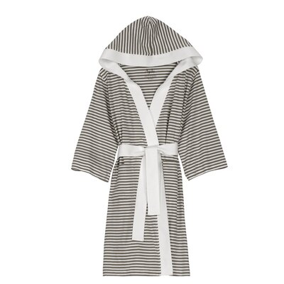 Natural Living Dana Bathrobe Color: Tan / White, Size: Large / Xlarge