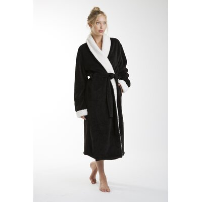 Patrie Sherpa Bathrobe Size: Small, Color: Black