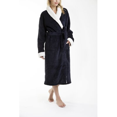Patrie Sherpa Bathrobe Size: Small, Color: Navy