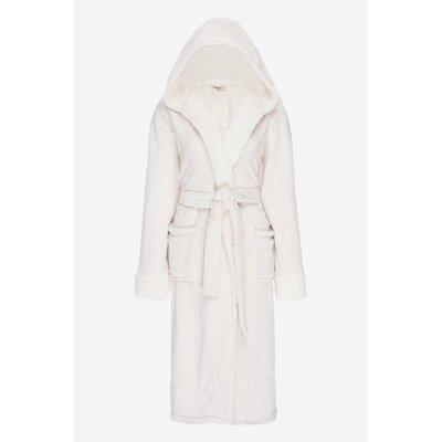 Bolgov Hooded Plush Fleece Bathrobe Size: Small, Color: Ivory