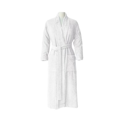 Pleated Bathrobe Size: Small / Medium, Color: Pure White