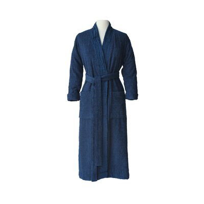 Pleated Bathrobe Size: Small / Medium, Color: Marine Blue