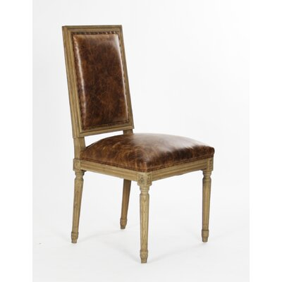 Louis Side Chair Upholstery: Leather - Brown
