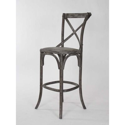 Parisienne Cafe 30.25 inch Bar Stool Finish: Limed Charcoal Oak